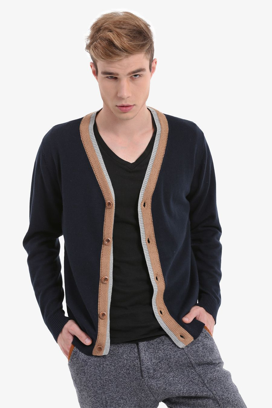 Men's Navy Button Up Cardigan | Classic, Retro look and Sleeve
