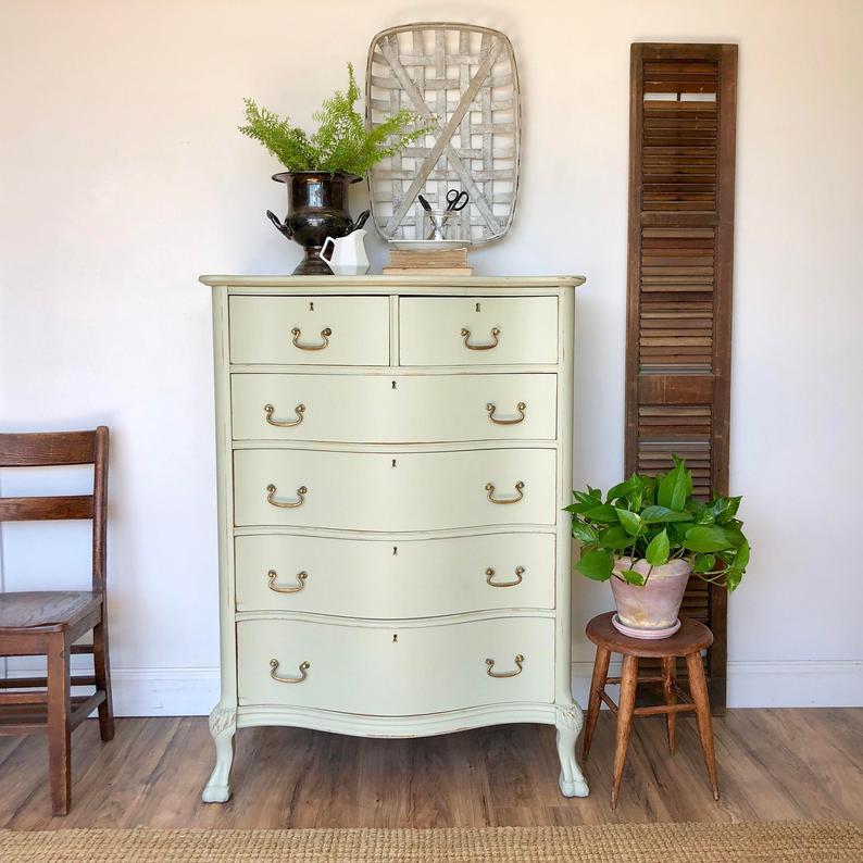 Green Tall Dresser Farmhouse Furniture Etsy Dresser