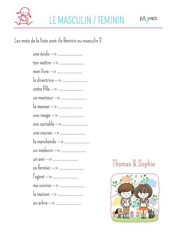 Exercice De Grammaire Noms Feminins Et Masculins 2 Exercice Grammaire Exercice Ce2 Exercice Ce1