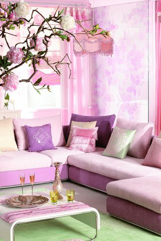 Purple-style living room maybe add some shade of mauve &/or blue ...