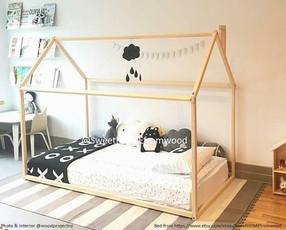 Toddler bed house shaped bed nursery wood house bed bed for Cama waldorf