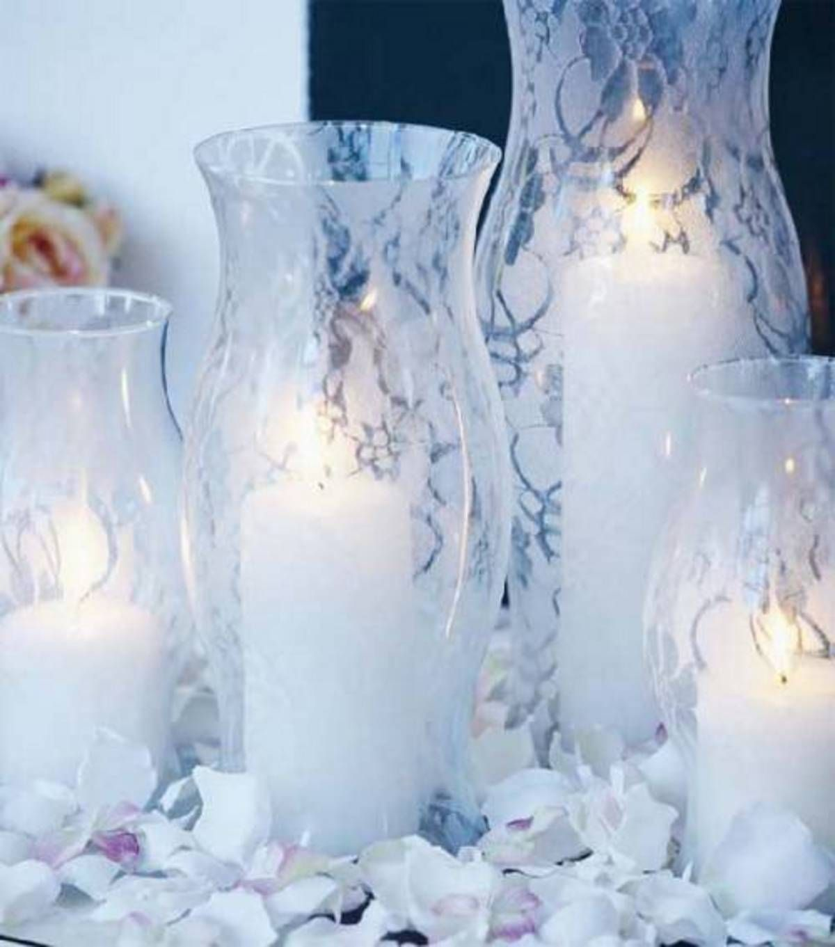 Spray Paint Over Lace For Centerpiece Vases Candle Centerpieces