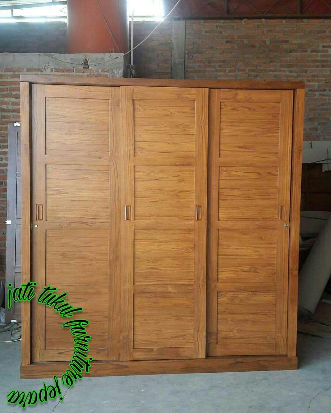 Minimalist wardrobe 3 full teak wood doors
