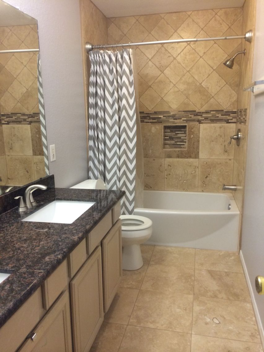 Bathroom Remodel Grey bathroom remodel. travertine. tan brown granite. grey paint. grey