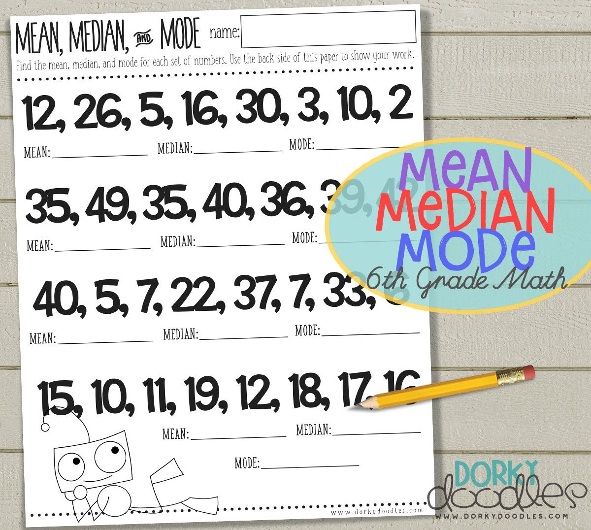 worksheet Mean Worksheet mean median mode printable 6th grade math worksheet educational worksheet