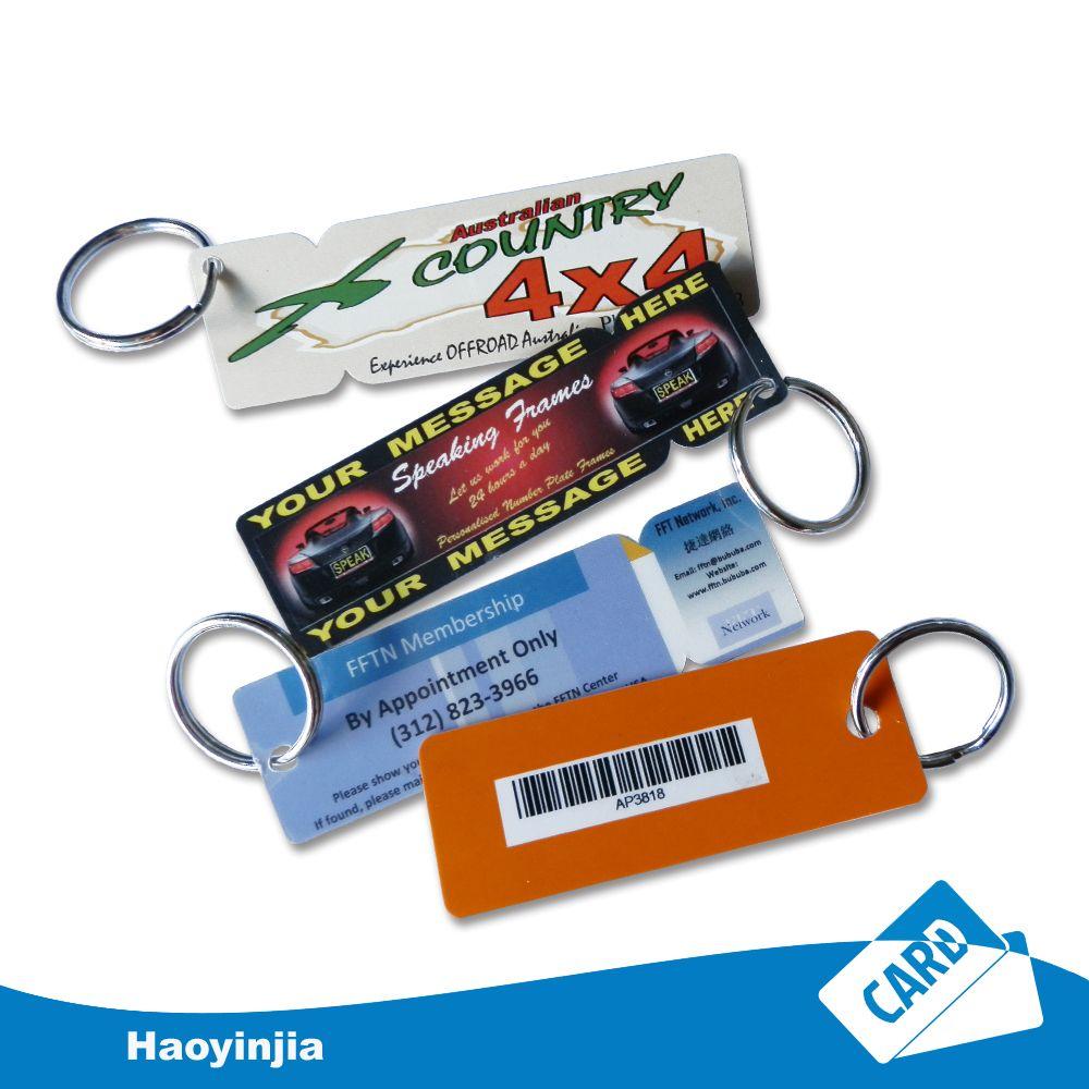 Custom design laminated plastic key tag with metal ring