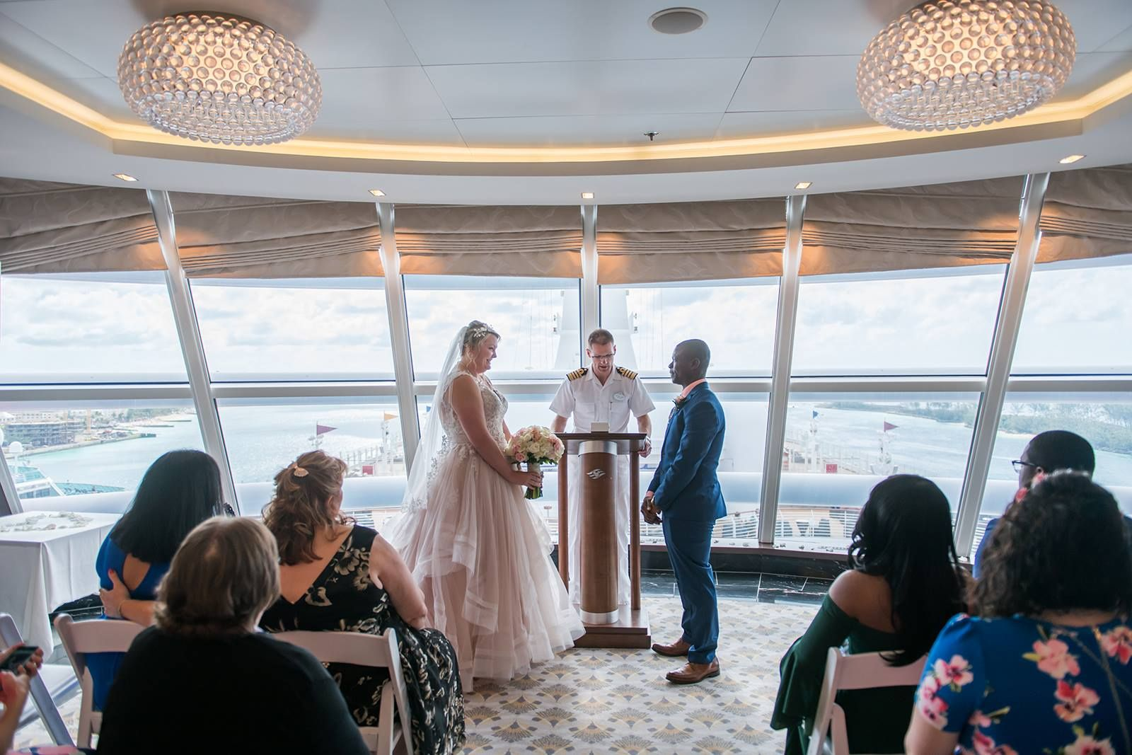 Ceremony In Outlook Lounge Aboard The Disney Dream Cruise Wedding Disney Cruise Wedding Disney Bride
