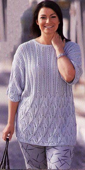 ажурный пуловер связанная спицами модели для полных спицы
