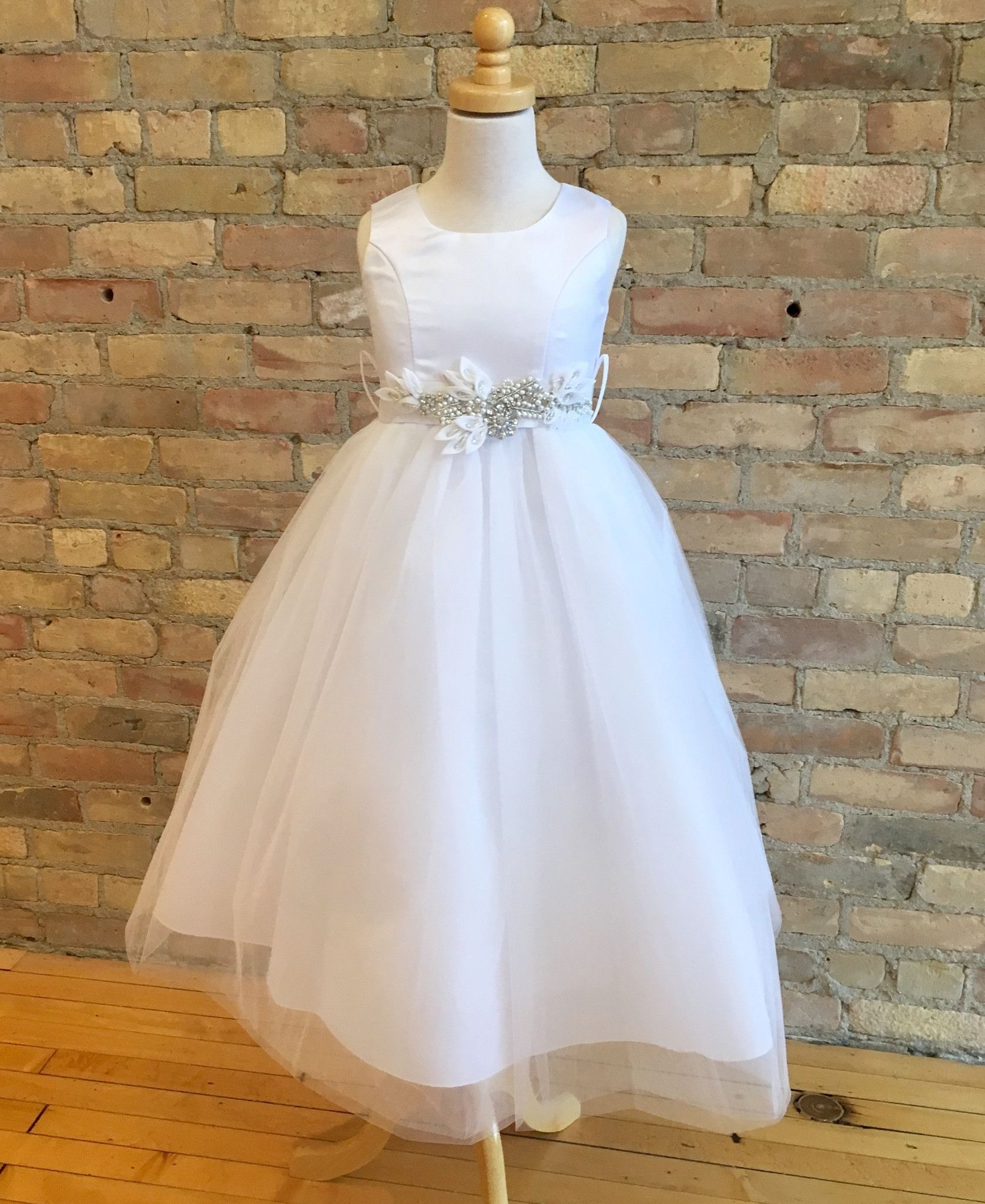 Wedding dresses with rhinestones  Girls Bead and Rhinestone Floral Belt Dress  Products  Pinterest