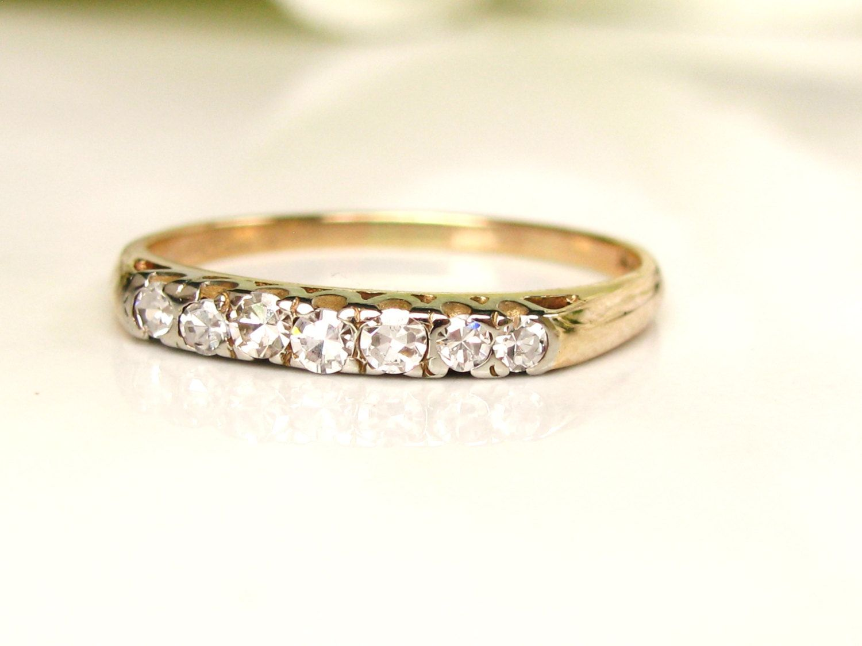 Vintage Diamond Wedding Band 14k Two Tone Gold Art Deco Ring Bridal