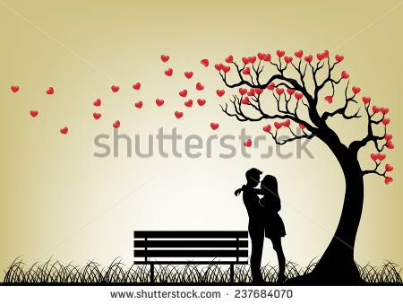 Dating Couple Silhouette Under Love Tree - stock photo