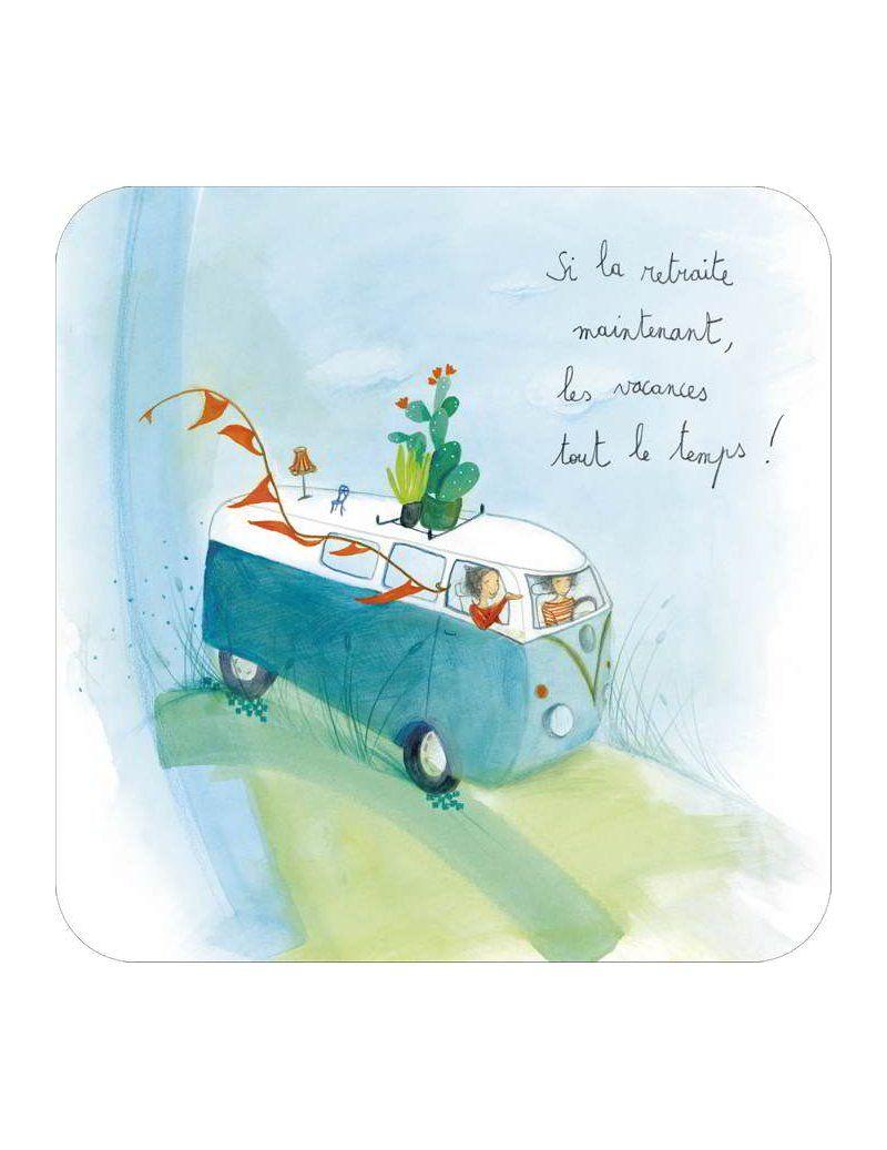 Carte Haute Qualite De Fabrication Francaise Si La Retraite Par Anne Sophie Rutsaert Art Carte Carte Postale Carte Retraite