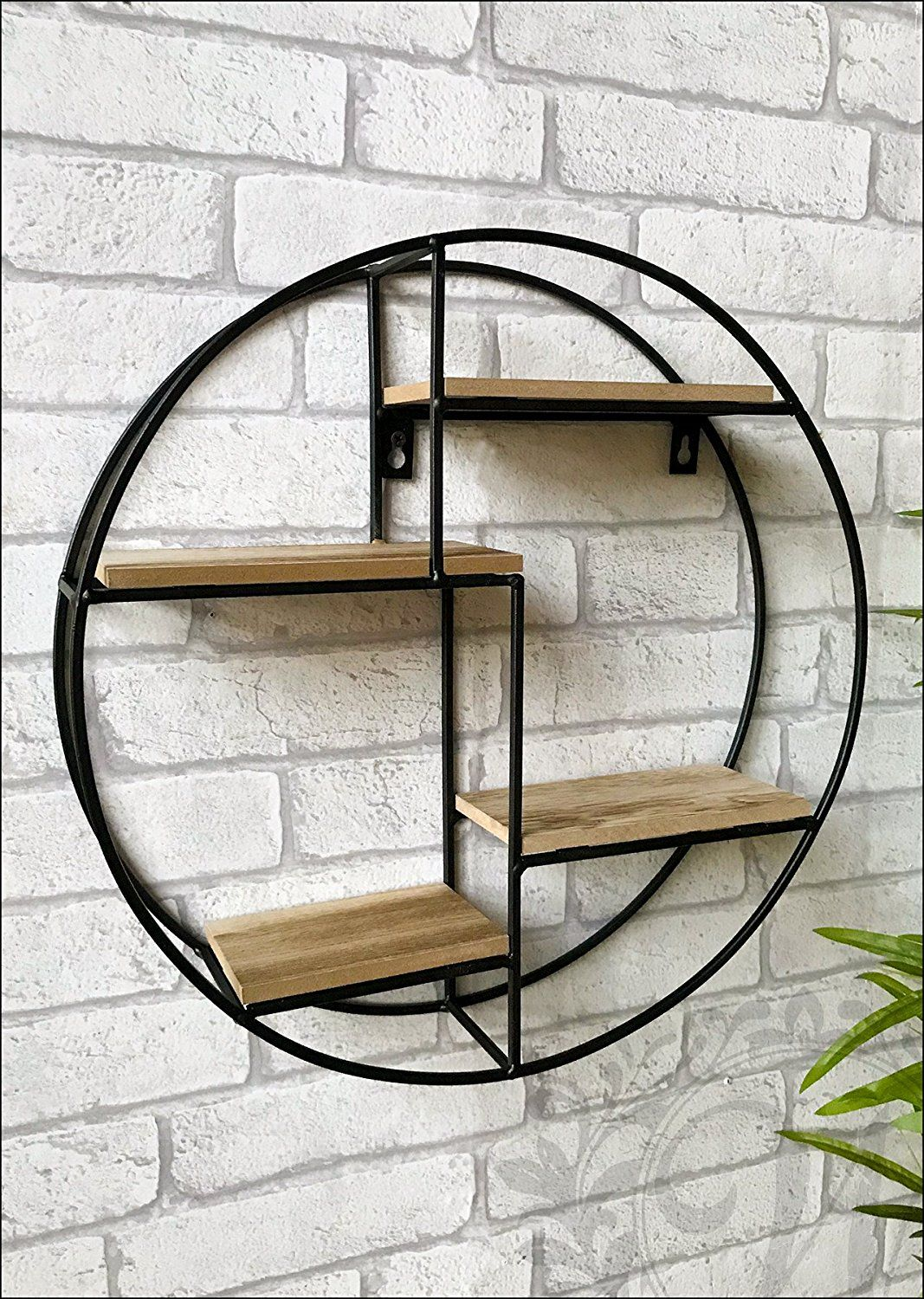Wooden Round Wall Shelf Unique Home Decor Shabby Chic Circle Display Unit