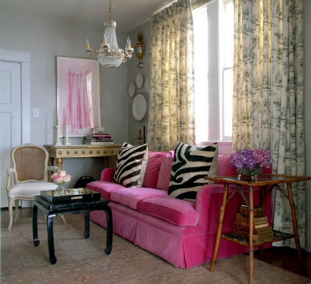 Ideas For Decorating Plush Pink Sofa Living Room: Pink Velvet Sofa, Gray Walls