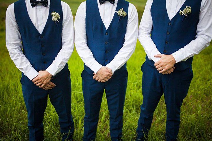 navy blue pants navy blue vest yellow tie + summer wedding
