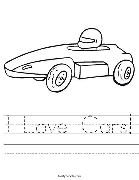 I Love Cars Worksheet Love Car Dot Worksheets Lettering Guide