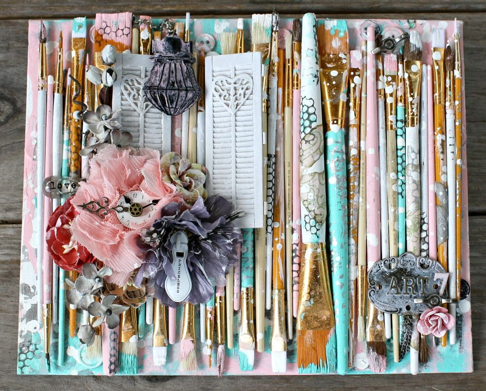 Mixed Media Paintbrush Canvas By Miranda Edney Mixed Media
