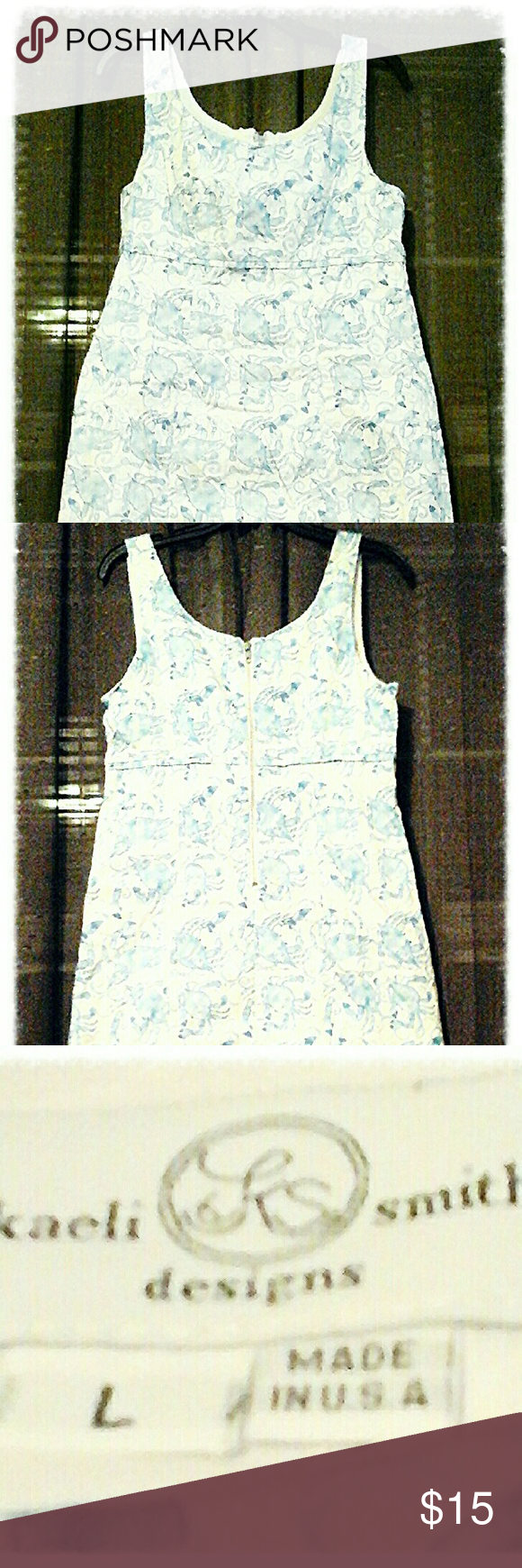 Kaeli Smith Sun Dress Kaeli Smith Sun Dress  Women's size Large.  Beachy pattern, white, with a blue pattern (upon closer examination, the pattern is actually little crabs lol) Excellent condition. No stains. Retail price: $169 Kaeli Smith  Dresses