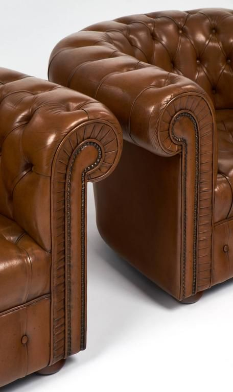 Best Pair Of Vintage Cognac Leather Chesterfield Club Chairs 7 400 x 300