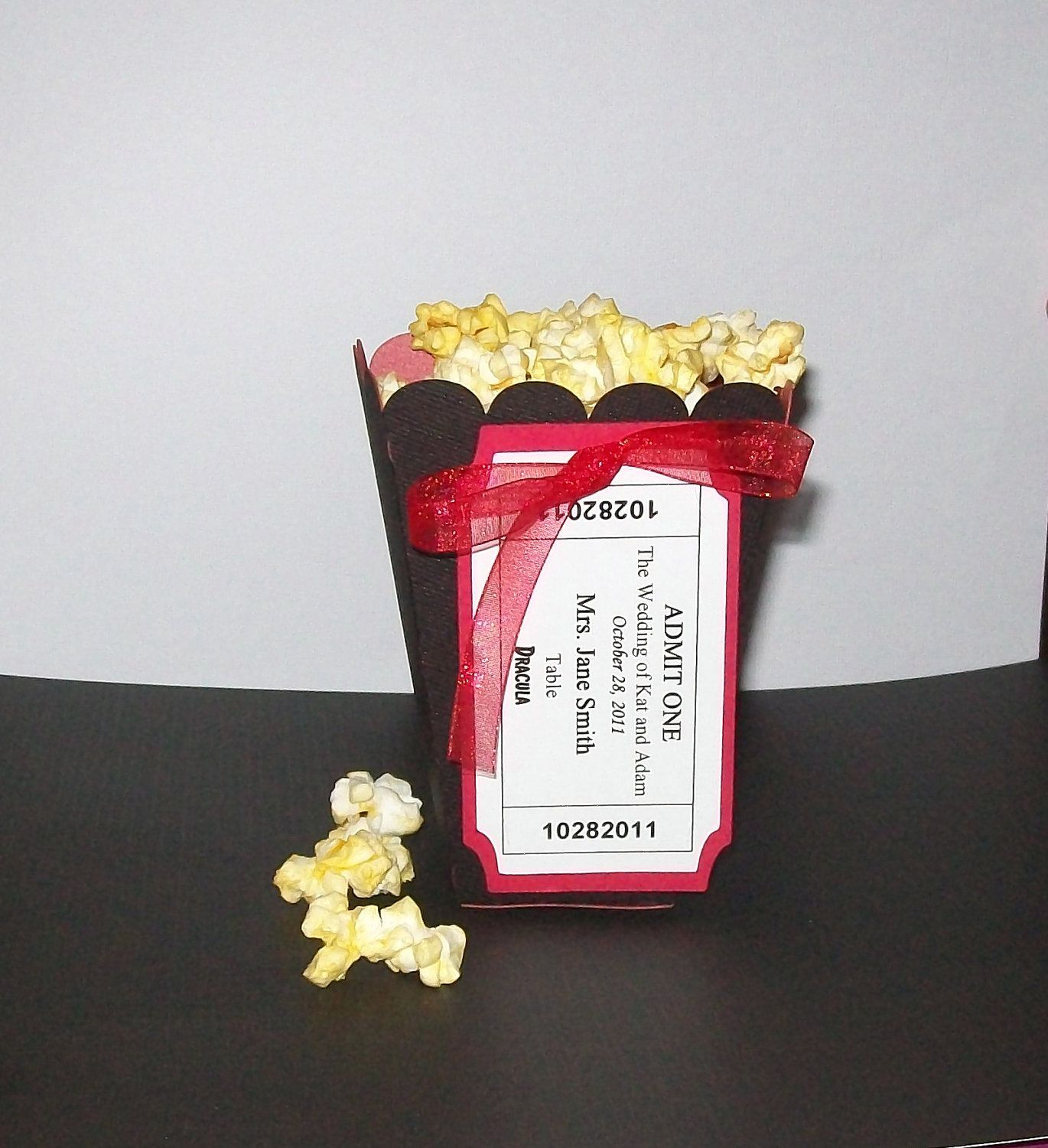 Popcorn Favor Boxes with Movie Tickets Escort Cards by paperpixie ...