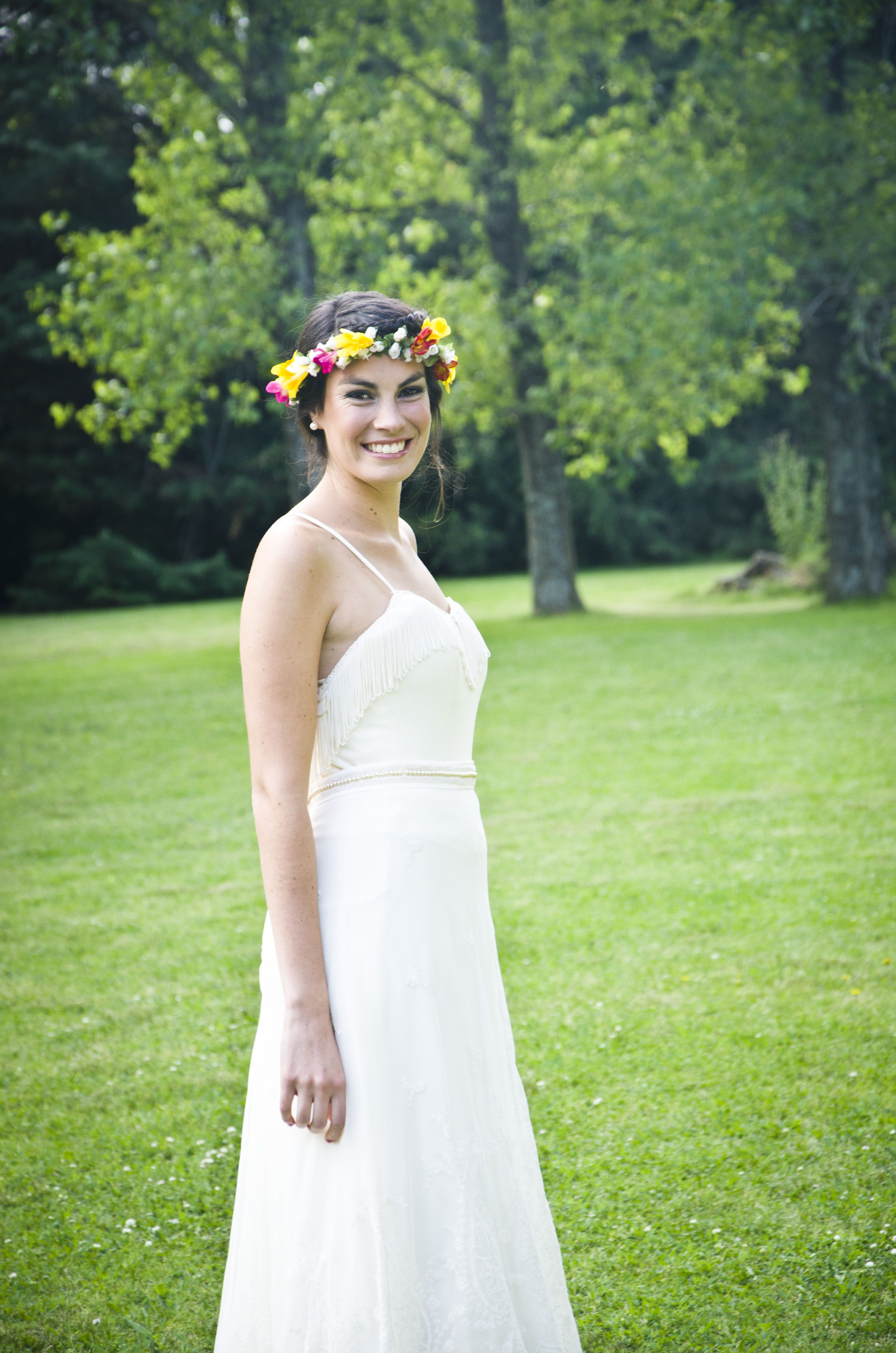Vestido de novia romántico para tu casamiento, corona de flores ...