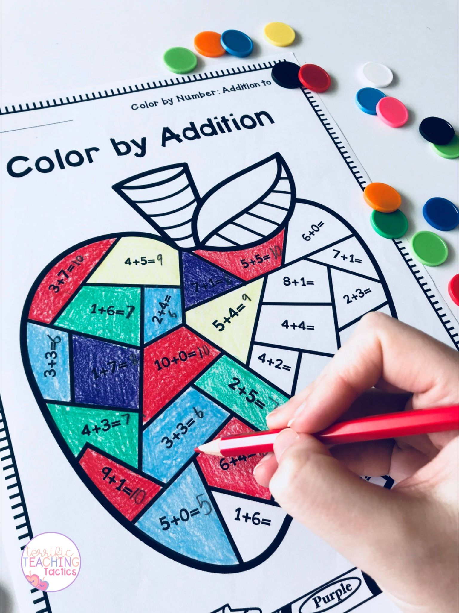 Color By Addition Worksheets Back To School