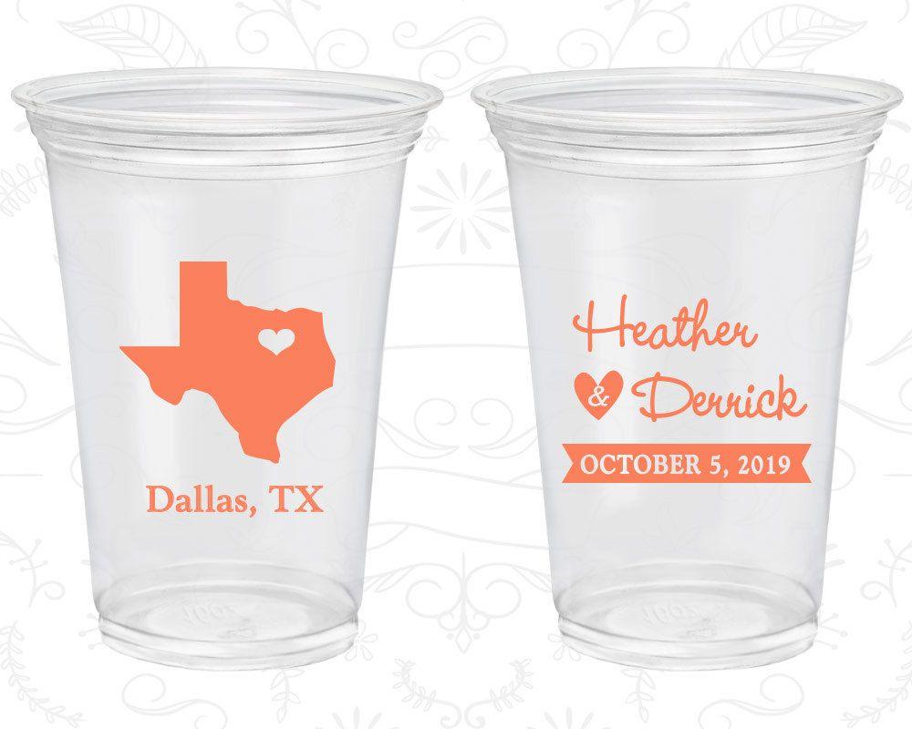 Texas Wedding Custom Clear Cups Destination State Plastic