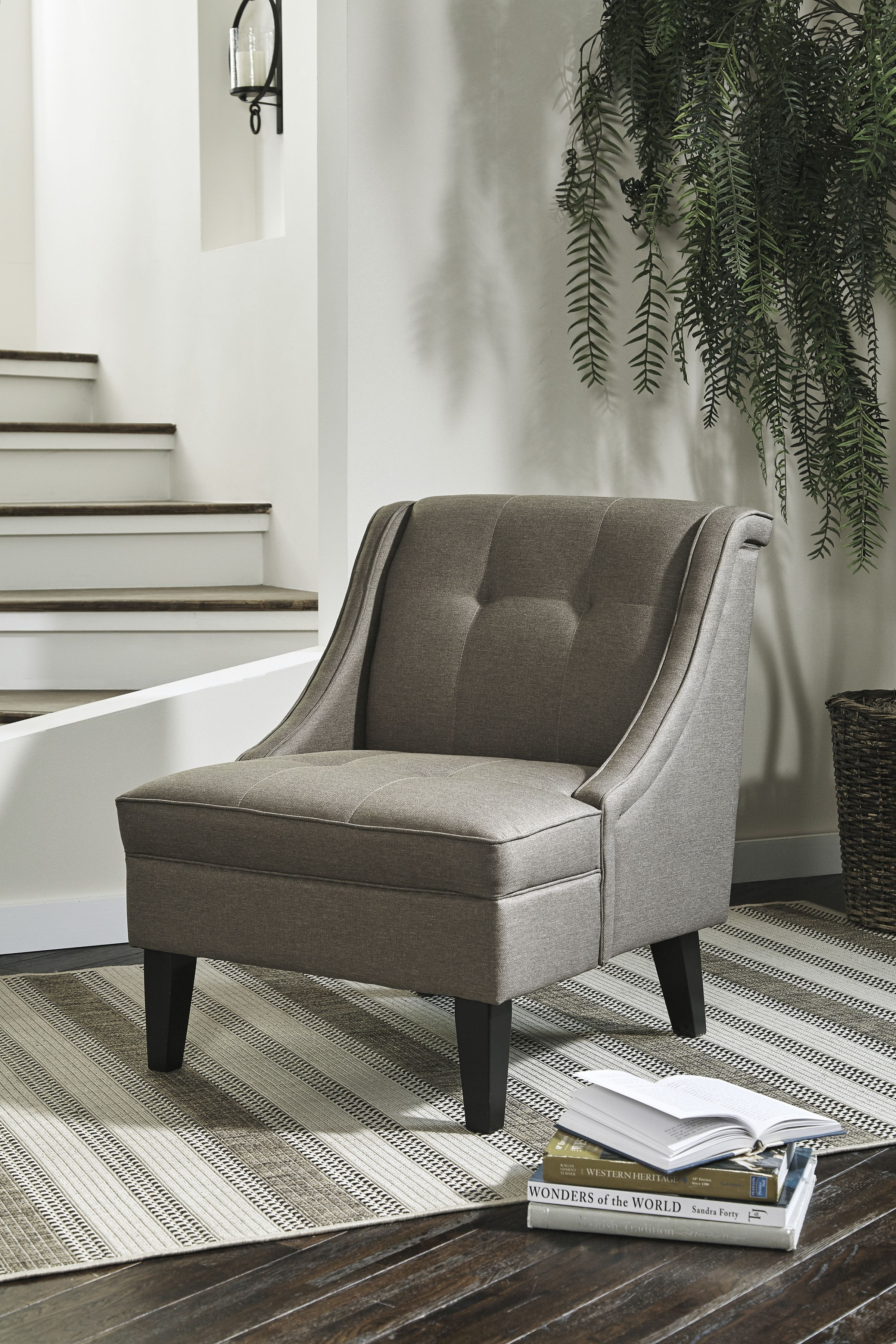 Calicho Accent Chair Covered In Sleek Gray Upholstery This