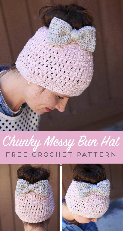 Messy Bun Free Crochet Pattern   Pinterest   Gorros, Gorros de lana ...