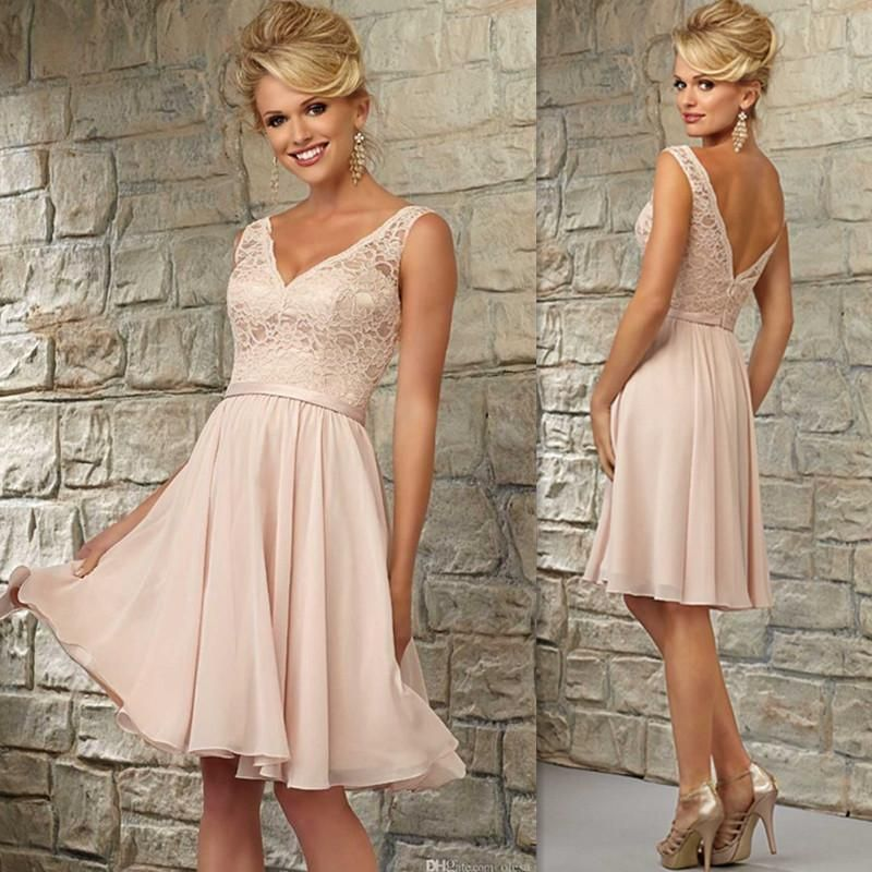 8517ba3c3cc Short Bridesmaid Dresses 2016 Blush Pink Lace V Neck Knee Length Wedding  Guest Dress Chiffon Open Back Simple Cheap Gowns For Bridesmaids How To  Measure For ...