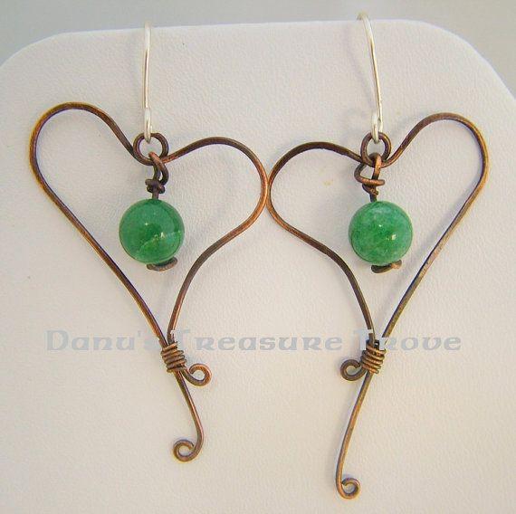 Green Aventurine Forged Copper Heart by DanusTreasureTrove on Etsy, $15.00