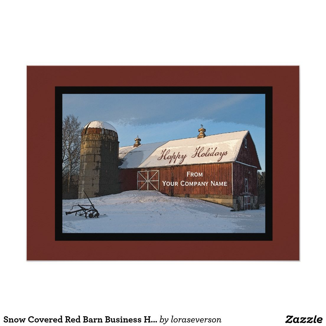 Snow Covered Red Barn Business Happy Holidays Card Thank Your