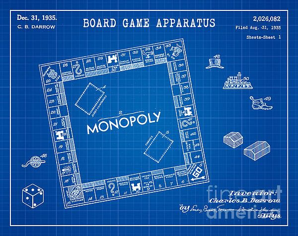 1935 monopoly board game patent art in white on a dark blue graph 1935 monopoly board game patent art in white on a dark blue graph paper background patent awarded to charles b darrow malvernweather Image collections