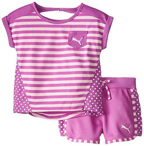 Puma Little Girls' Stripe Block Set, Purple Belle, 4T - Puma stripe block set  - http://ehowsuperstore.com/bestbrandsales/clothing/puma-little-girls-stripe-block-set-purple-belle-4t