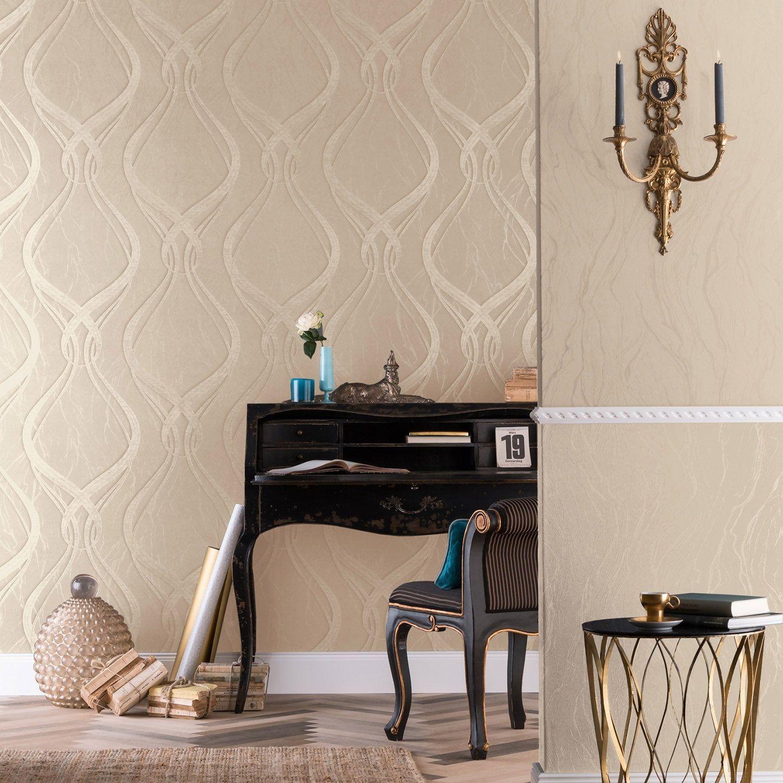 Peinture Sur Papier Peint Existant papier peint vinyle courbes les classiques doré marburg