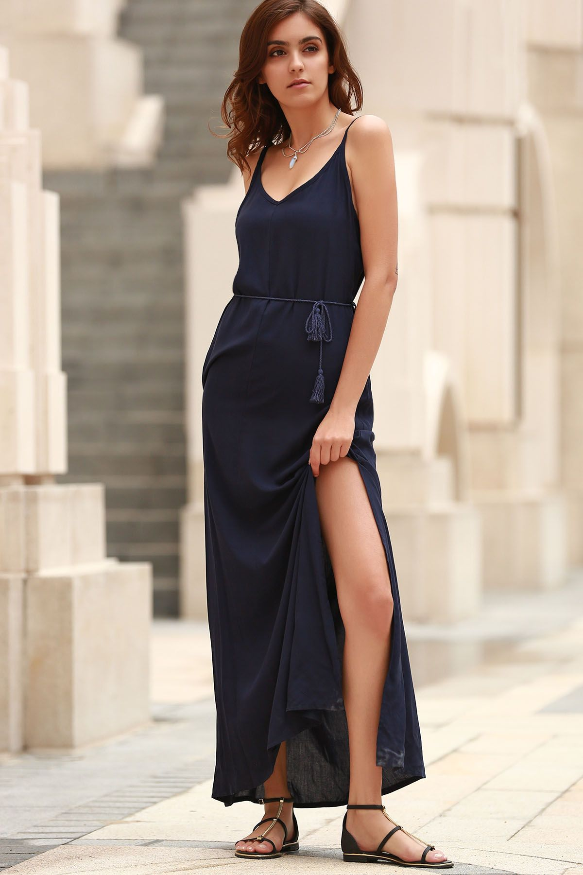 Low back high slit long flowing dress blue maxi dresses blue maxi