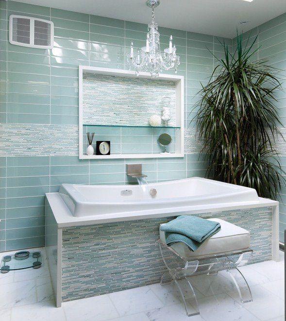 Ideen · Wohnideen Badezimmer Blaue Wandfliesenmodern Klassische Einrichtung