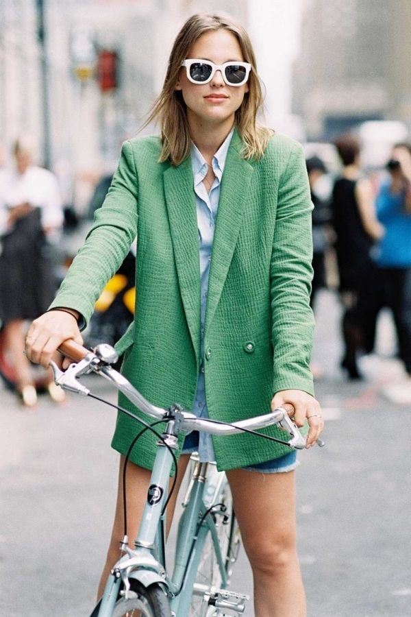 c6c0a92bcbaea a colorful blazer with a button-down, cutoff denim shorts and white  sunglasses