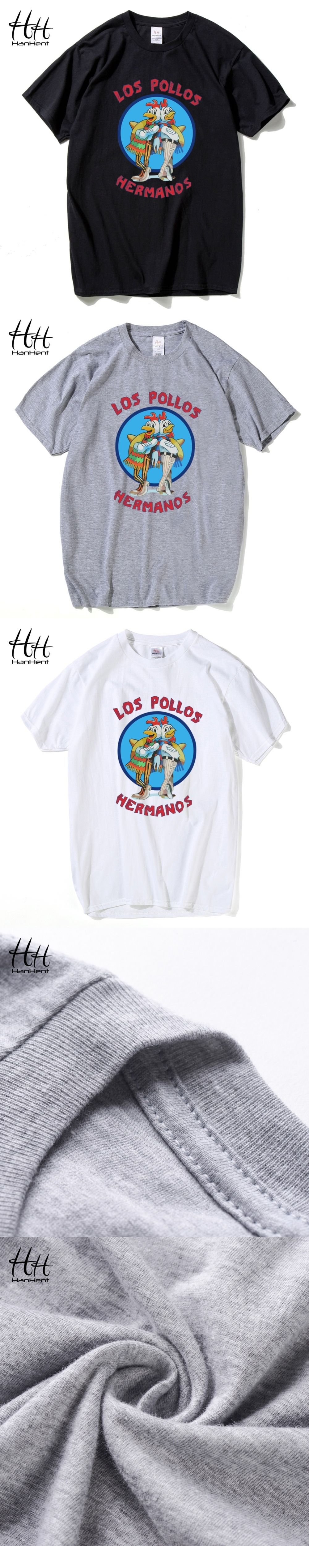 HanHent Los Pollos Hermanos T Shirts Men Breaking Bad T-shirts Sitcoms  Summer Cotton Fitness e52bd5e9a17c