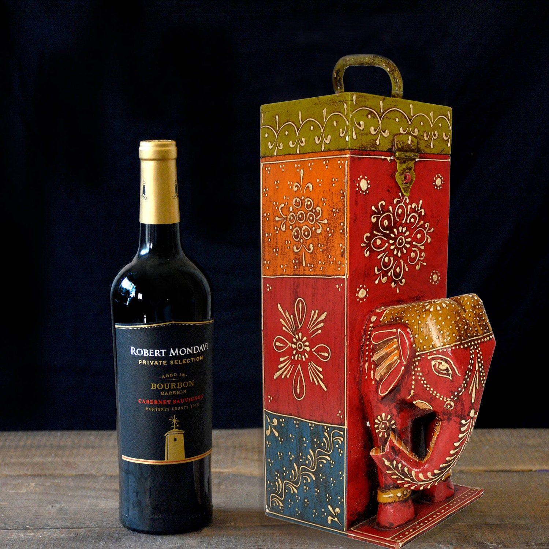 Wooden Elephant Design Single Wine Bottle Wood Storage Gift Box With Handle Housewarming Gift 12 X 9 Etsy Wine Bottles Bottles Decoration Painted Wine Bottles