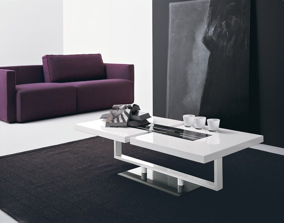 Charmant Amazing Purple Sofa Plus Black Area Rug Mixed With Modern White Living Room  Table Design