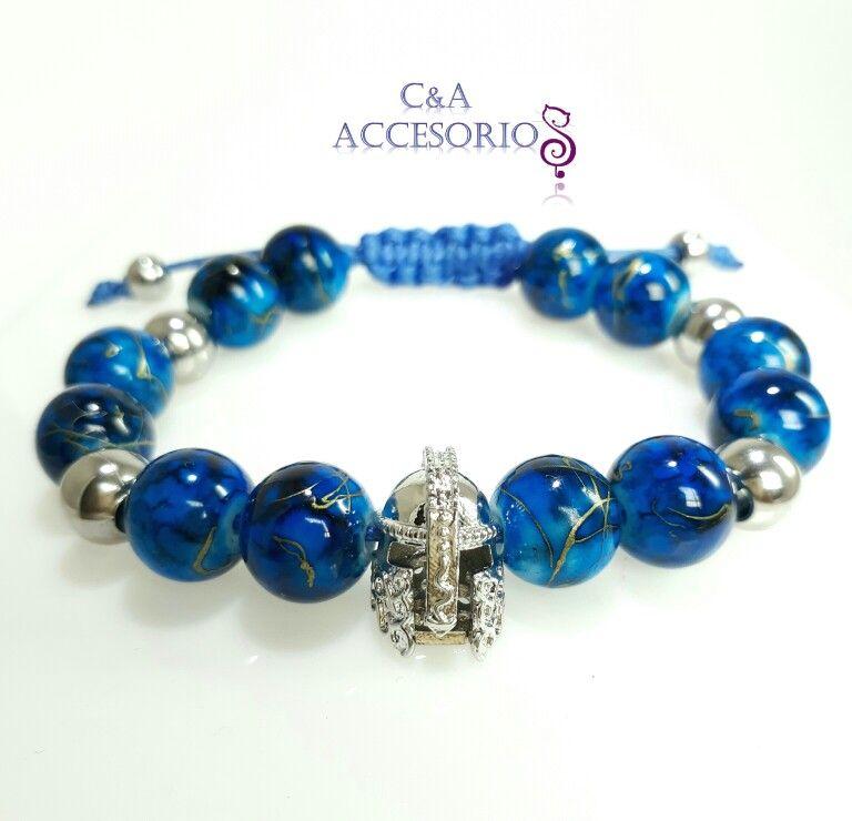 eed570fc990b Pulsera para Hombre en Murano Azul brillante