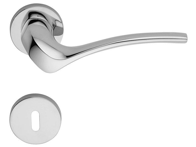 Door Handle On Rose With Lock Ibis Collection By Linea Cali Design Yurij Cegla Door Handles Door Handle With Lock Brass Door Handles