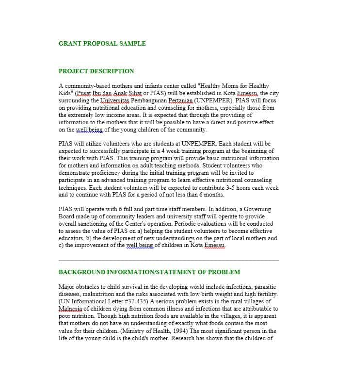 Example Of Grant Proposal - Google Search