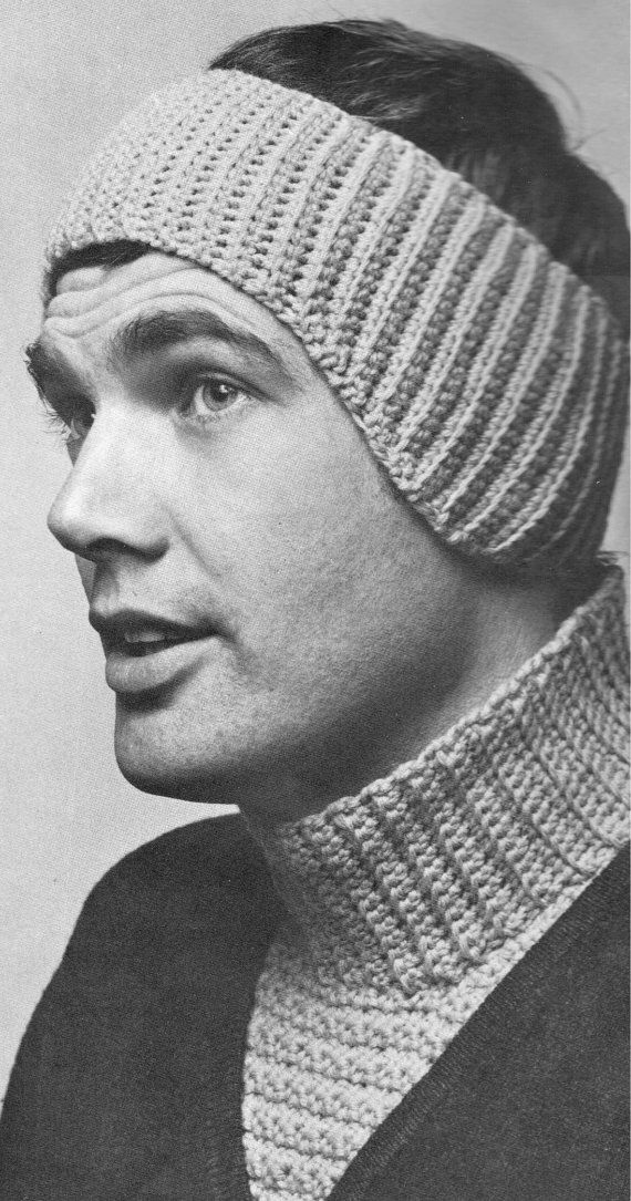 Vintage Crochet Pattern Mens Ear Warmer And Dickey Neck Warmer Set