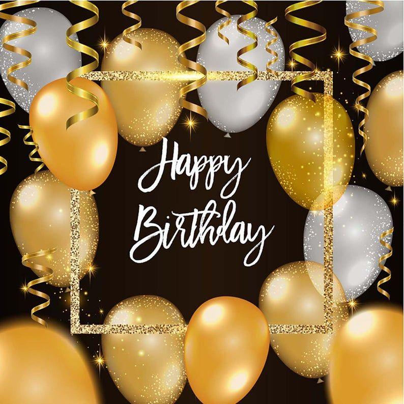 Happy Birthday Party Photography Backdrops Gold And White Etsy Birthday Party Photography Happy Birthday Pictures Happy Birthday Images