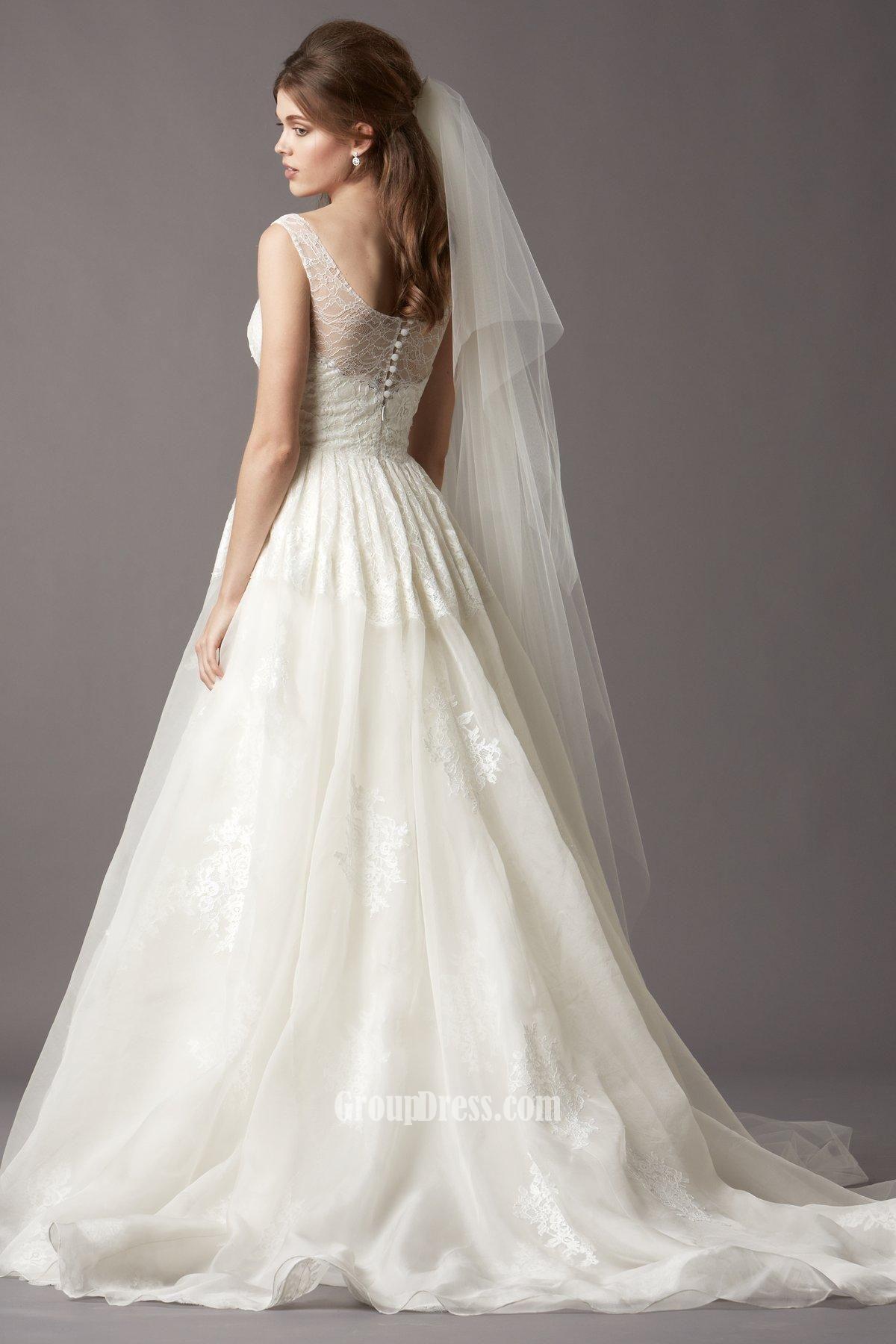 lace boatneck wedding dress | Sleeveless Boat Neck Organza and Lace ...