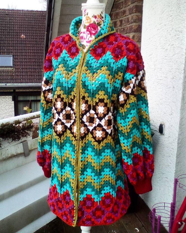 Фото Marjan Hoebeke-Pfaff. | Вязаное крючком пальто ...