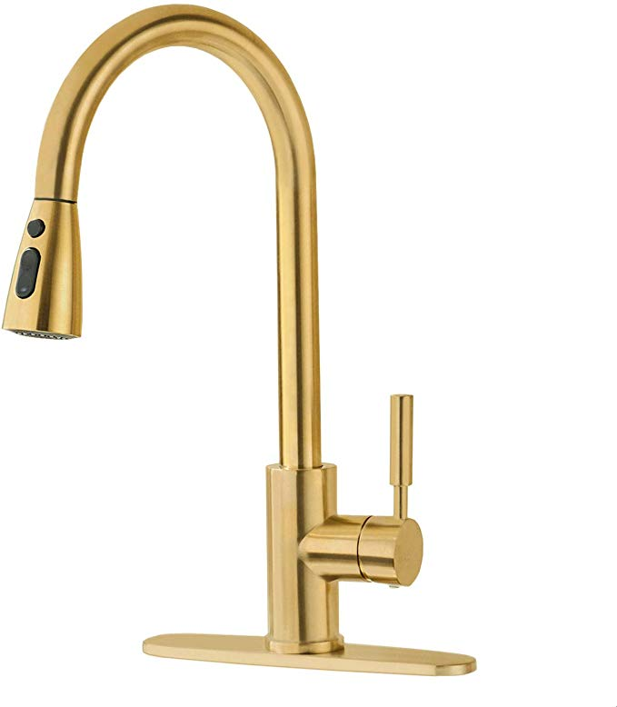 Brushed Gold Kitchen Faucet With Pull Down Sprayer Fonveth Single Handle High Arc Pull Out Gold Kitchen Faucet Single Hole Kitchen Faucet Kitchen Sink Faucets