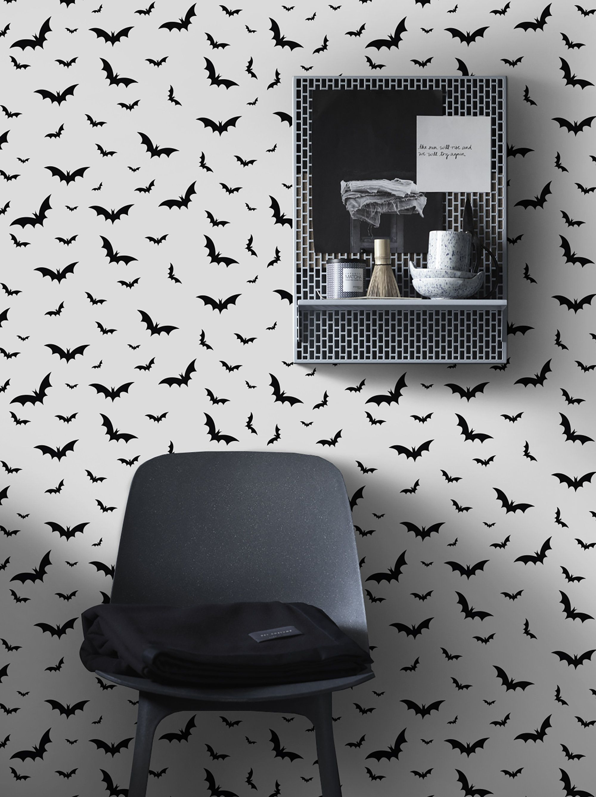 Black And White Bat Removable Wallpaper Bird Self Adhesive Etsy In 2020 Removable Wallpaper Minimalist Wall Stickers Stripe Removable Wallpaper